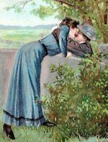 Embossed Romantic Lovers Couple Kissing over Fence 1910 Postcard PFB Finkenrath