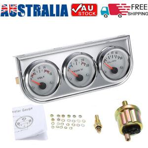 52MM Voltmeter + Water Temp + Oil Pressure Auto Gauge Meter 3 in 1 Triple Gauge