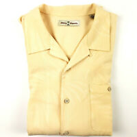 Tommy Bahama Mens XL Silk Cotton Hawaiian Shirt Yellow Palm Trees Camp