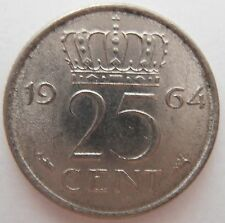 NETHERLANDS 25 CENT 1964