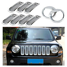 9pcs Chrome Front Grille Mesh Insert Headlight Covers Trim Kit For Jeep Patriot