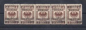 Albania Albanie Albanien 1919 Rare Strip Of Five MNH
