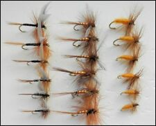 Dry Trout Fishing Flies, 18 Pack, Ginger Quill, Carrot & Orange Spinner, 12/16