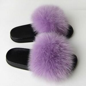 Newest Real Plush Fox Hair Fur Slippers Lady Summer Fluffy Slides Cozy Shoes
