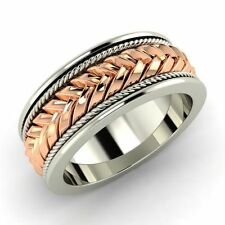 Certified Braided 18k White Gold Men's Engagement / Wedding Band Ring Size 8