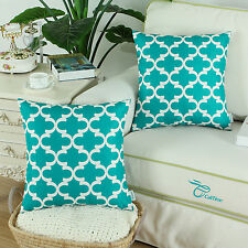 2Pcs Teal Cushion Covers Pillows Shells Modern Quatrefoil Accent Geometric 45cm