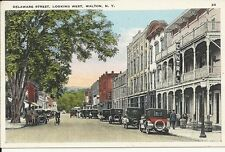 Rare White Border Postcard, New York, Walton, Delaware Street, Old Cars, Bike