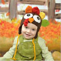 New Knit Crochet Baby Kids Child Thanksgiving Turkey Hat Newborn Photo Prop Hat