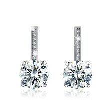 FASHION ATTITUDE 18k white gold gp made with Swarovski crystal stud earrings 2ct