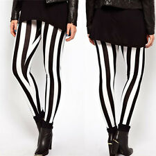 Plus Size Women Casual Black White Elastic Stripes Stretch Leggings Long Pants
