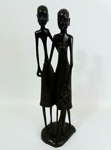 Wooden Hand Carved African Tribal Couple & Child - Family Figurine Statue 28.5cm