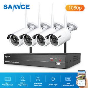 SANNCE H.264+8CH NVR HD 1080p CCTV AI Human IP Outdoor Camera Wireless System UK
