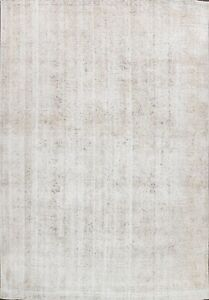 Antique Muted Tebriz Distressed Hand-knotted Area Rug Near Square Carpet 10'x11'