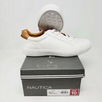 Nautica Men's Size 10 Lace Up Sneaker White Faux Leather AN8947, NEW DESIGN, NIB