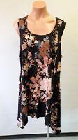 💜 RTM Sleeveless Asymmetric Tunic Top Black Floral Size XL Buy7=FreePost L795