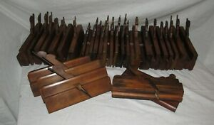 mixed lot of 29 antique wooden moulding planes old tools woodworking planes