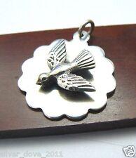 Retired James Avery RARE 3D Bird/Dove Medallion Pendant Sterling Silver NEAT!