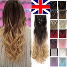 UK 100% Real Thick Clip In Hair Extensions As Human 8PCS Full Head Ombre Dip Dey