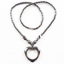 LK1761 Fashion Black Hematite Heart Pendant Necklace 17.5 inch 34x33x6mm.5x3mm