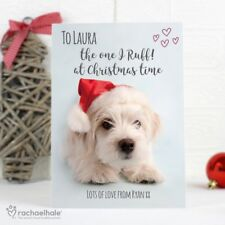 -:- Terrier Christmas Card -:- PERSONALISED CARD -:- Designed by Rachael Hale