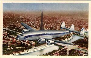 AIR FRANCE LOCKHEED CONSTELLATION AIRPLANE VINTAGE  POSTCARD VIEW