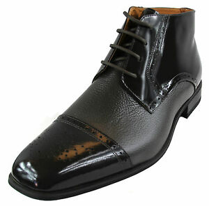 New men's shoes dress formal real leather boots lace wedding prom gray