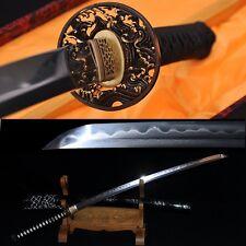 Clay Tempered Folded Steel Full Tang Blade Wave TSUBA JAPANESE SWORD KATANA