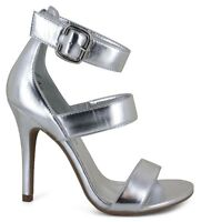 WOMEN'S Sandals (12,13) heels SILVER ankle strap BUCKLE shoes