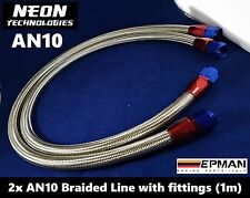2x AN10 Braided Line 1m with fitting *Stainless Steel* Oil Fuel Water Hose Turbo