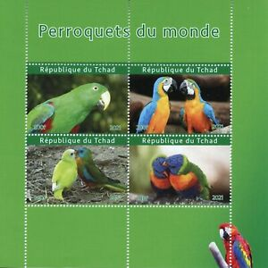 Chad Birds on Stamps 2021 MNH Parrots of World Macaws Conures 4v M/S II