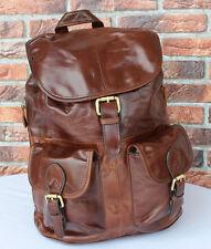 Vintage ECHTES LEDER Braun Rucksack Umhängetasche Unitasche Leather Backpack 117