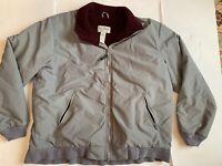 Vintage LL Bean Warm Up Jacket Men XL Gray W/ Burgundy Fleece Lined Full Zip