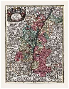 Old Vintage Map of Alsace Lorraine France Germany Seutter 1744