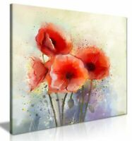 Water Color Red Poppy Flowers Painting Canvas Wall Art Picture Print