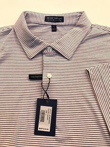 Peter Millar Crown Crafted Golf Polo Tailored Fit Shirt Pink Striped Men's L New