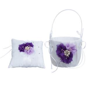 1 Set Purple Flower Pearls Diamante   Bearer and Flower Girl Basket