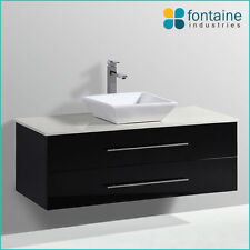 1200 Black Vanity Unit Bathroom NEW Square Modern Ceramic Basin Stone