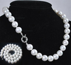"""18"""" 24"""" 36"""" 48"""" 8mm 10mm 12mm White Akoya Shell Pearl Round Beads Necklace AAA"""