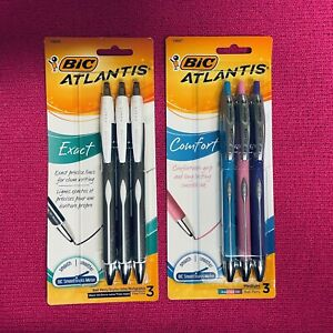 Lot of 2 BIC Atlantis Pen Sets Exact Comfort Asorted Ball Black Blue Pink Purple