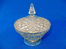 """Candy Dish With Lid ,Glass Clear Vintage 1940""""s 1950""""s Molded Glass W/Star Cut"""