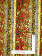 Floral Abstract Stripe Gold Cotton Fabric Northcott First Impressions 1.5 Yard