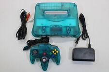 NINTENDO 64 Clear Blue White Console Cont 7/10 AC AV OEM N64 PLAY US JAPAN J736