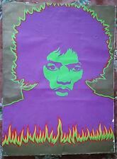 Jimi Hendrix Poster vintage rare 1968 1 owner black light Fire