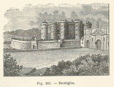 B2465 Bastiglia - Incisione antica del 1924 - Engraving