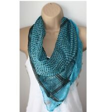 Black Turquoise Blue Silver Square Sheer Shemagh Scarf Mens Ladies Shawl 100cm