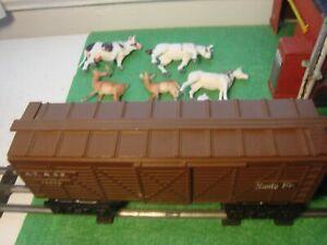 Railroad,Train,box car,O Scale,Marx, Sante Fe,At & SF,+ cattle,horse,deer toys