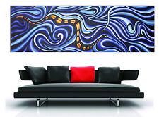 150cm x 50cm  ART PAINTING PRINT snake serpent dreaming ABORIGINAL blue canvas