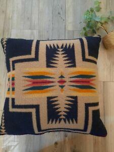 Pendleton Fabric Native Aztek Wool Feather Black Tan Beige wool  Pillow