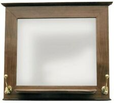 Coat Rack Wall Mounted With Mirror Wood, Mirror Glass And Brass 18 1/8in