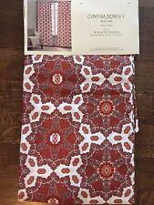 Cynthia Rowley Orange Red White Medallion Damask Window Panels 2 Set NEW 52x96